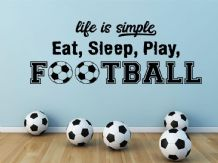 """Eat, Sleep, Play, Football"" Wall Quote, Art, Sticker, Self Adhesive, Transfer"